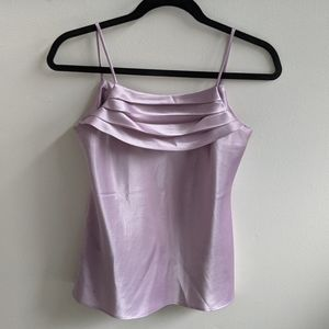 3/$50 - Lilac satin cami with pleated neckline
